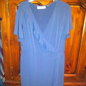 Avenue Dress with Ruffle Neckline